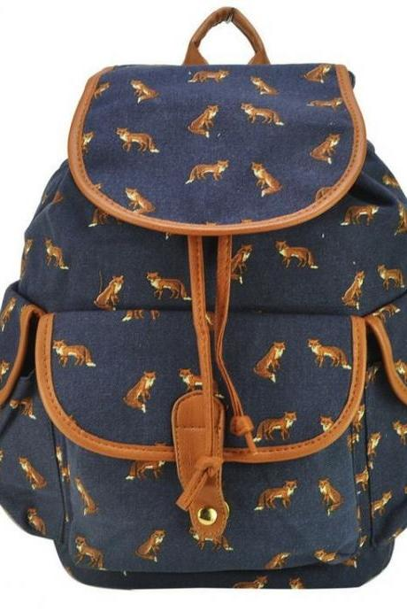 Animal print backpack graphic fox backpack canvas backpack girl backpack