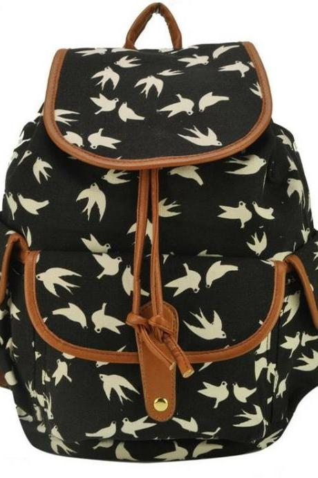 Bird print backpack Graphic canvas backpack Girl backpack