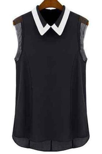 Casual Turndown Collar Sleeveless Black T Shirt for Woman - Black