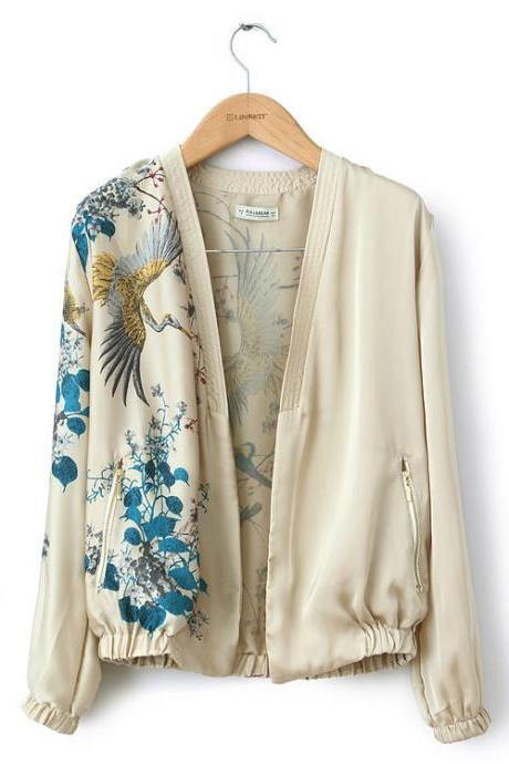 Vogue American Printed Blouse With Long Sleeves Jacket