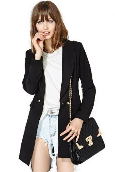 Cheap New Style Double Buckle Design Asymmetrical Hem Solid Black Polyester Blazer