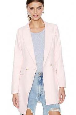Cheap New Style Double Buckle Design Asymmetrical Hem Solid Pink Polyester Blazer