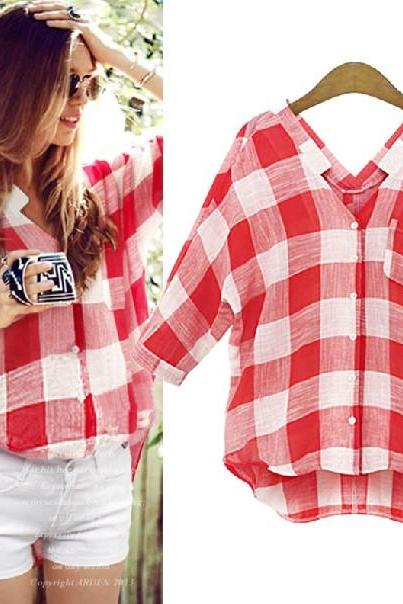 Cheap New Style V Neck Long Sleeves Single-breasted Pocket Design Plaids Print Red Shirt
