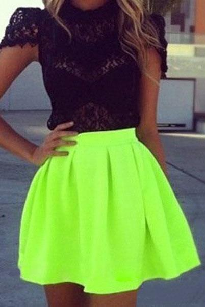 Fluorescent green half-length skirt AX090904ax