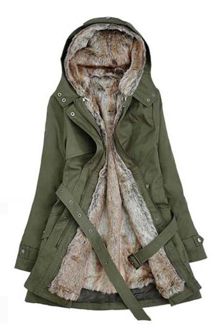 Solid Black Fleece Zipper Closure Hooded Coat - Army Green