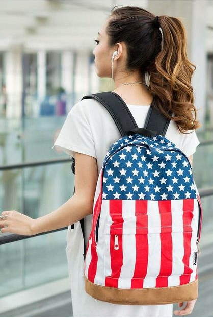 US flag canvas girl backpack