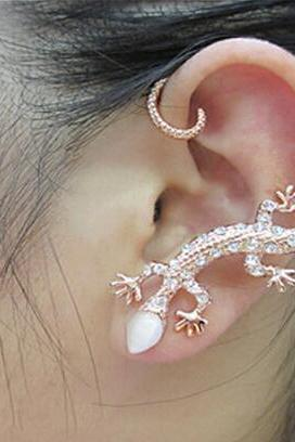 1pc Fashion Crystal Rhinestone Ear Cuff Earrings Luxury Gecko Stud Earrings