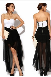 Women's sexy strapless gown with irregular dress detonation modelTo report