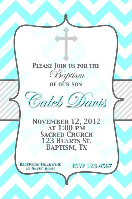 Baptism Invitation Turquoise and blue Grey Christening, Dedication, Blessing PRINTABLE Invitation Design