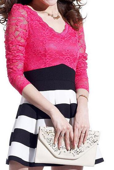 Slim striped long-sleeved V-neck lace skirt #091005AK