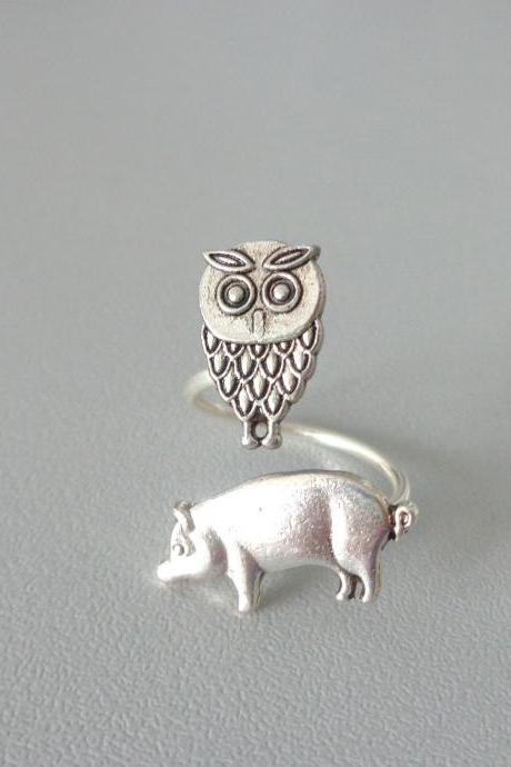 Owl and pig ring, adjustable ring