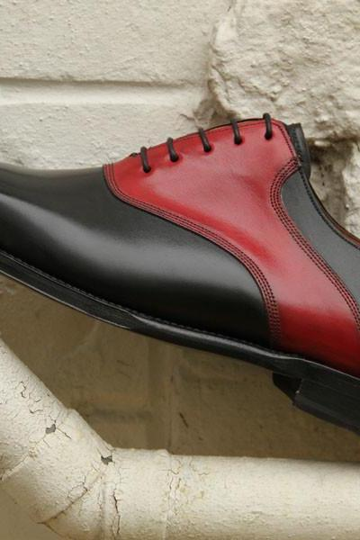 HANDMADE SHOES, MEN DRESS SHOES, MEN BLACK AND RED DRESS SHOES
