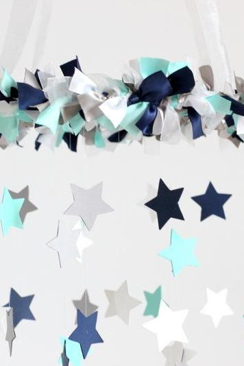 Navy Blue, Aqua, White & Gray Nursery Star Mobile