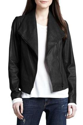 WOMEN'S SHAWL COLLAR LEATHER JACKET, WOMENS LEATHER JACKET, BIKER LEATHER JACKET WOMENS