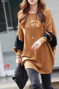 CoffeeBlends Women Fashion Round Neck Bat Sleeve New Korean Autumn Style Simple Casual Loose Tops One Size