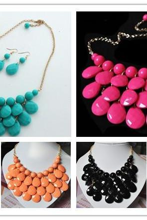 Coral Bubble Peach Jewelry Set,Teardrop Statement Necklaces,Beaded Layered Necklace