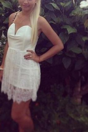 Lovely White Lace Short Dress, Pretty Lace Dress
