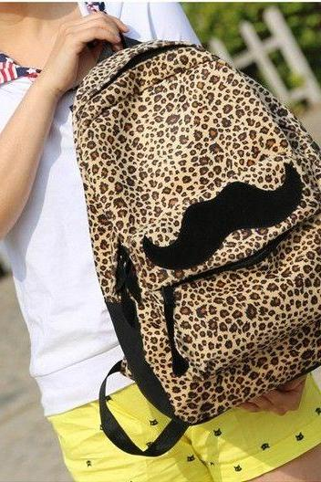 Leopard design mustache velour girl backpack