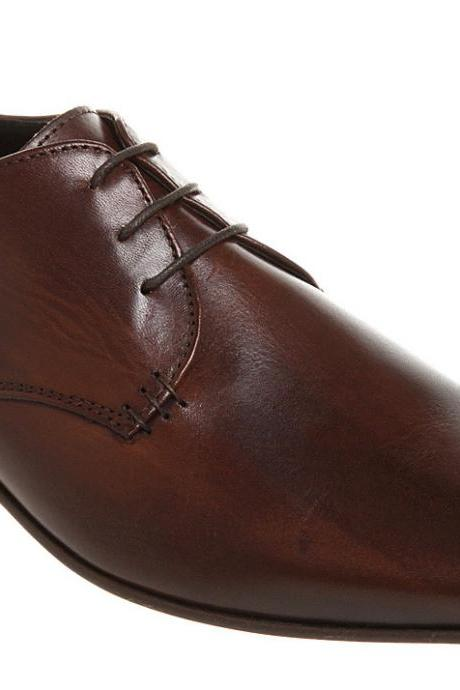MEN'S BROWN DRESS SHOES, HANDMADE LEATHER SHOES, MEN REAL LEATHER