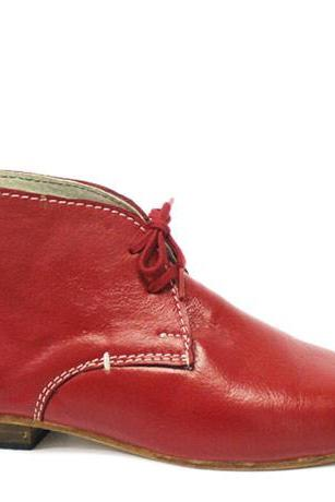HANDMADE ANKLE BOOT, RED COLOR HANDMADE LEATHER BOOT