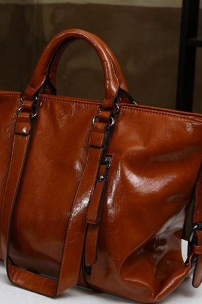 Brown Leather Bags for Women Motorcyle Style
