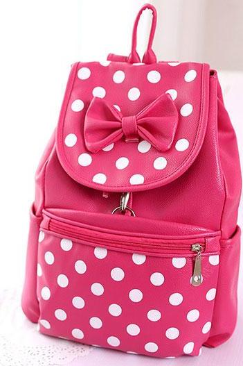 Sweet Cute Bow Dot Casual Leather Backpack