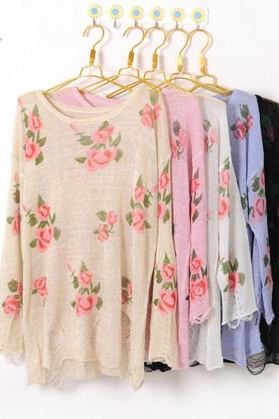 Christmas Knitwear Women Fashion Vintage Rose Flower Hollow Holes Sweater Top Shirt