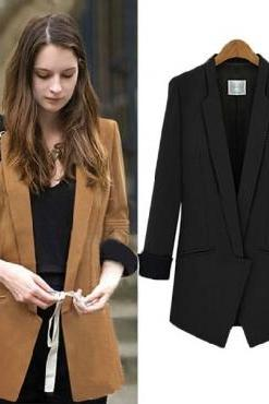 Cheap New Style Long Sleeves Solid Black Polyester Long Blazer