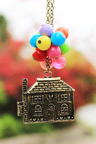 House Lifted by Balloons Charm and Bead Necklace