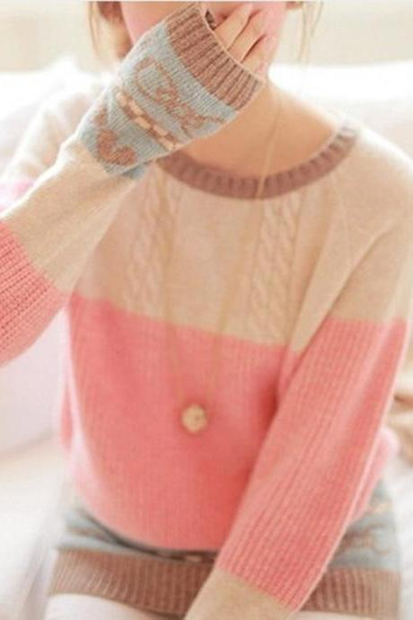 Peach heart pattern stitching loose knit sweater #YU091201GB
