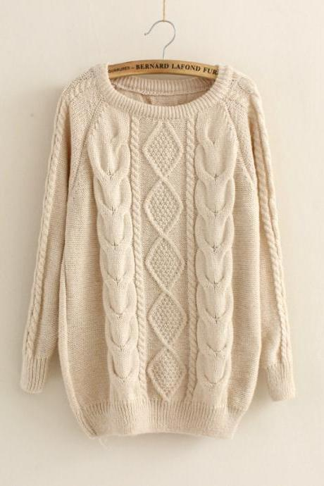 Casual Cabled Pullover Sweaters Fleece in Beige