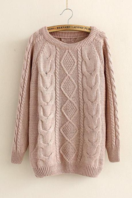 Casual Cabled Pullover Sweaters Fleece in Khaki
