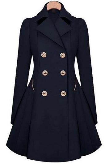 Fashion Long Sleeve Turndown Collar Trench Coat with Button - Navy