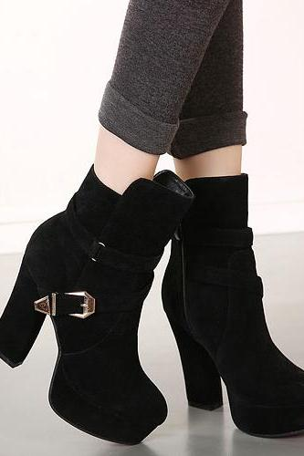 Cheap Winter Round Toe Zipper Buckle Design Chunky Super High Heel Black Suede Ankle Martens Boots