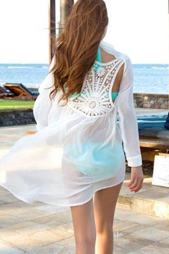 Fashion and Sexy Backless Hollow Out Long-Sleeved Chiffon Shirt