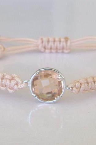 Peach Cream Dreams Elegant Friendship Bracelet Champagne Round Crystal Minimal Sparkle Gift For Her