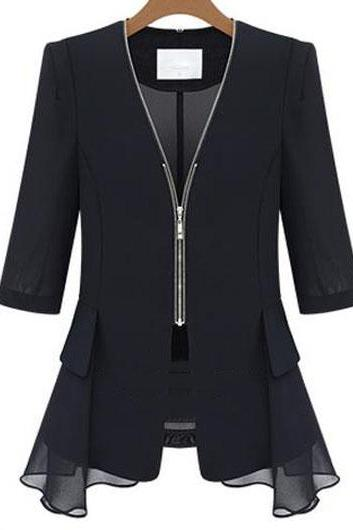 Fashion V Neck Half Sleeve Coat for Woman - Black