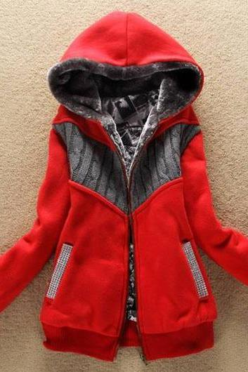 Fashion New Arrival Hooded Collar Woman Coat with Zip - Red