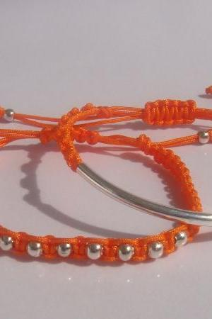 Juicy Orange Beaded Friendship Bracelets Stacking Playful Summer Fun SET OF TWO