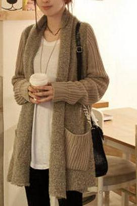 Loose knit cardigan sweater jacket AX091402ax