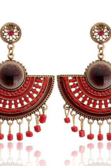 Free Shipping Queen Cleopatra Style Royal Classic Fan Shape Red Earrings
