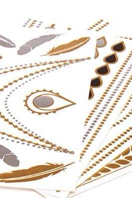 Rouelle ELLEtatts ANY 12 TWELVE SHEETS Metallic Tattoos, flash tattoos, gold tattoos, silver tattoos, temporary tattoos, jewelry tattoos.
