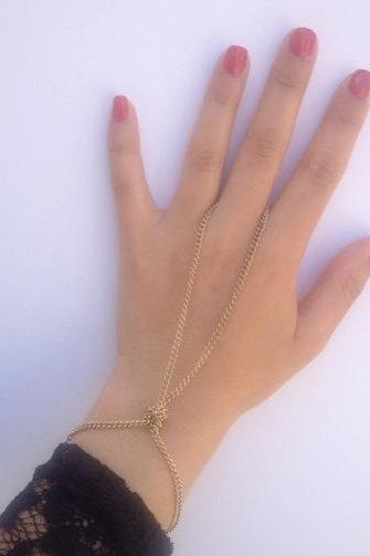 Rouelle GINA HUGE SALE Handpiece in Gold: Hand-piece, bracelet, ring-bracelet, slave bracelet, slave chain, hand chain