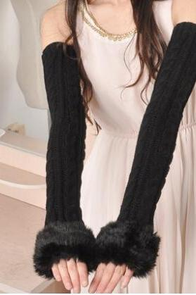 Winter to keep warm and lovely sweater off sleeves thickening takes half arm set of female long gloves