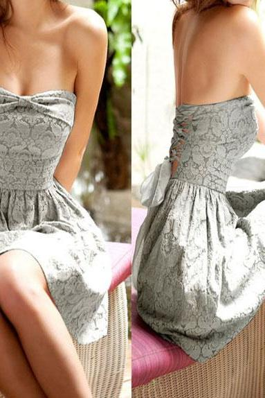 Unique Gray Lace-up Bow Strapless Lace Dress