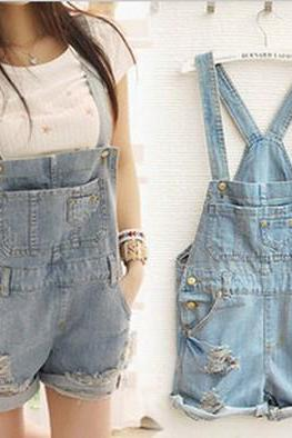Cute O Neck Short Sleeve Solid Regular Blue Cotton Jumpsuits
