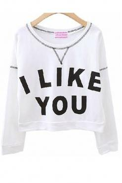Simple Letters Print Long SleevesWhite Regular Pullover I LIKE YOU