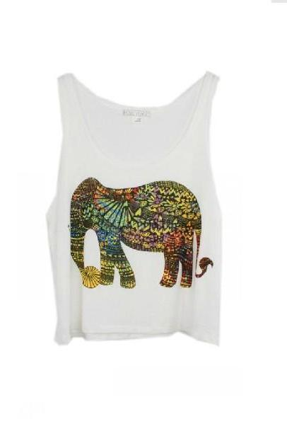 Elephant Printed Tank Top
