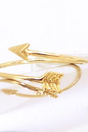 Gold Arrow Ring, Adjustable Ring, Knuckle Ring, Gold Unique Ring