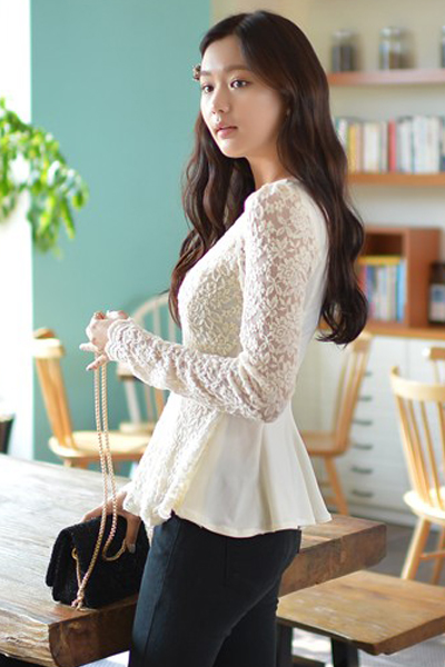 Cheap New Style O Neck Long Sleeves Solid Apricot Floral Lace Shirt